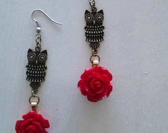 Owl red rose dangle earrings
