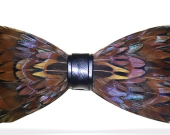 Real Brown Feathers Handmade Bowtie bow tie