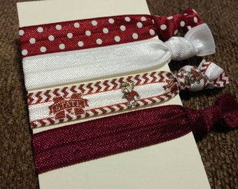Mississippi State University Bulldogs inspired elastic hair ties