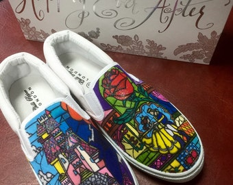 Disney Beauty and the Beast Inspired canvas shoes