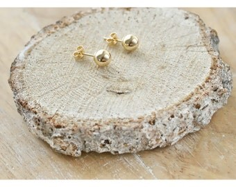 Gold ball earrings, 14K Gold ball studs, 6mm 14K Yellow gold stud earrings