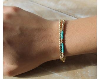 gold bracelet • 14K gold filled bracelet • gold stackable bracelet •layered bracelets • gold beaded bracelet • turquoise beads • B057