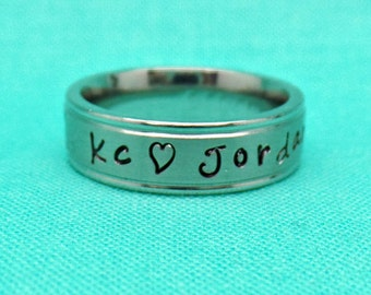 Custom Personalized Hand Stamped Stacking Ring, Mothers Ring, Engraved handstamped Ring, Childrens Name Ring