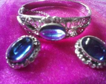 Beautiful Blue Moon Stone Whiting and Davis Set