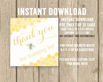 Bee favor tags, honeycomb favor tags, bee birthday party, thank you for buzzing by tags, honey theme party, honey bee tags, DIGITAL DOWNLOAD