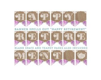 Digital download retirement party banner, lavender banner, leaving party banner, happy retirement banner, retirement party decor, lilac