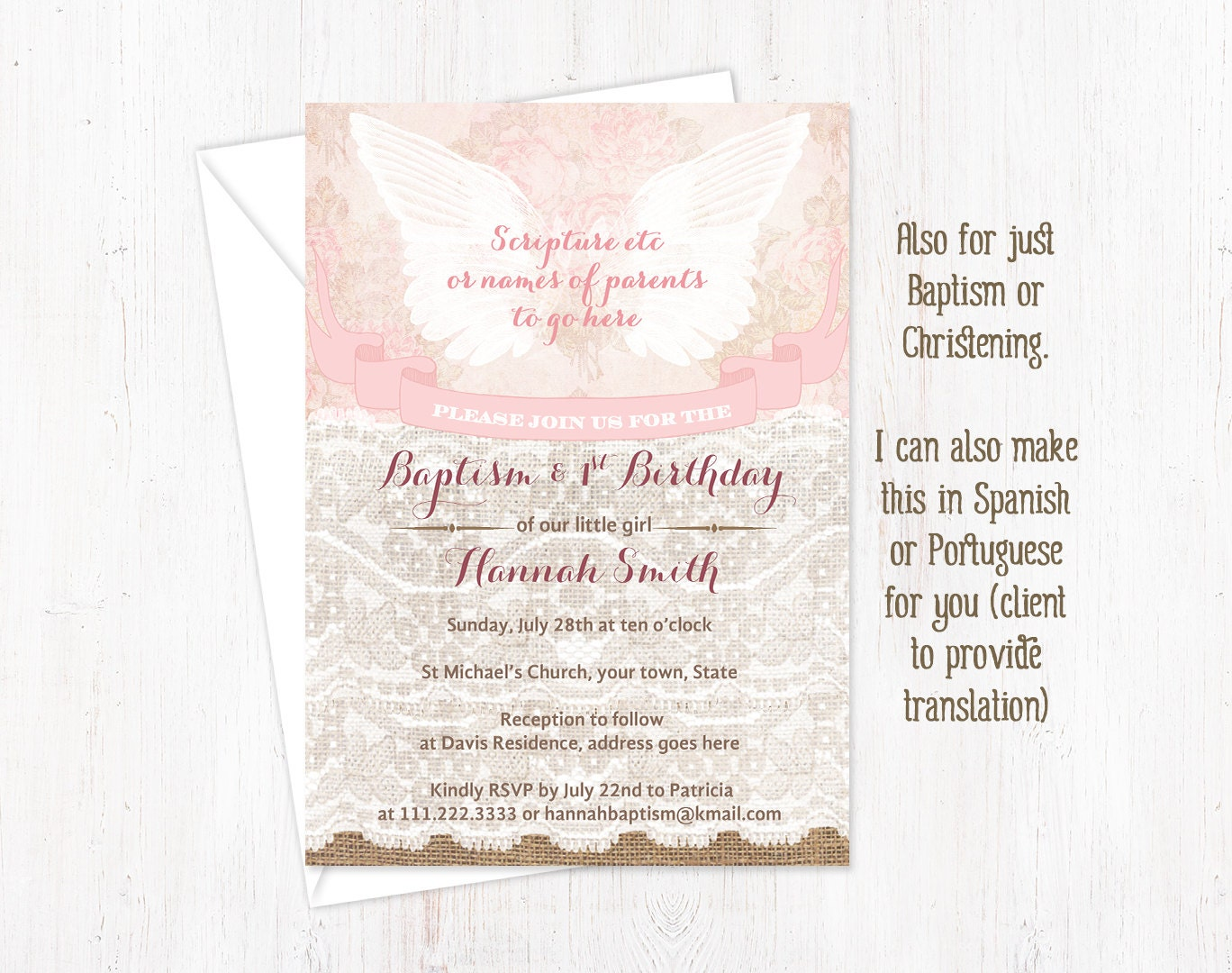 Baptism and 1st birthday invitations girl angel baptism