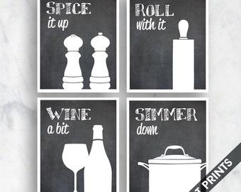 Funny Kitchen Art Print Set (Salt Pepper, Rolling Pin, Wine, Simmer Pot) Set of 4 - Art Prints (Featured on Blackboard)