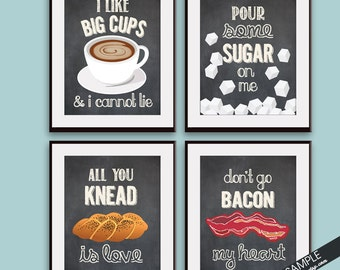 Big Cups, Sugar, Knead Love, Bacon my Heart (Funny Kitchen Song Series) Set of 4 Art Prints (Featured in Vintage Chalkboard) Kitchen Art