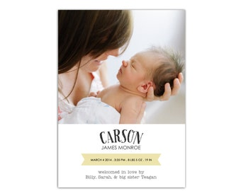 Baby Announcement Cards // Birth Announcement Boy // New Baby Announcement Card // 5x7 Printable Photo Birth Announcement Card // The Carson