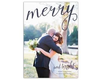 Merry & Bright Photo Christmas Card // Christmas Cards // 5x7 Printable Photo Holiday Card // The Barrett