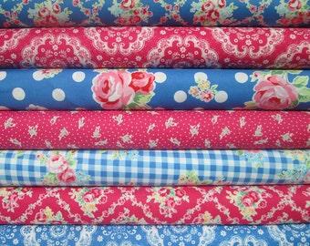 Lecien Flower Sugar, Fall 2015, Hot Pink and Dark Blue, Fat Quarter Bundle of 7, Japanese Fabric