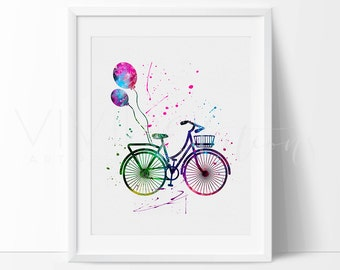 Bicycle Print, Hipster Nursery Art Print Wall Decor, Bike, Kids Bedroom Wall Art, Watercolor Painting, Dorm Decor, Not Framed, No. 114
