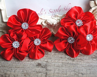 """Set of 2 - Red Cluster Satin Flowers - Embellished Satin Flowers - 2.5"""" Satin Cluster - Hair Accessories - Red Satin"""