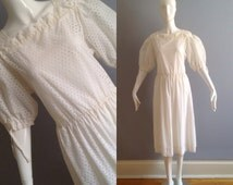 Vintage 50s White Cotton Eyelet Day Dress ~ Puff Sleeve Retro Summer Midi ~ Sheer Ethnic Cotton Pleated Skirt