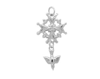 Sterling Silver 'Rose of Damask' Huguenot Cross