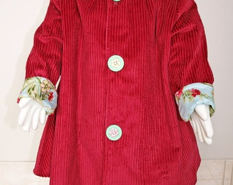 Little Girls Gorgeous Coat  Vintage Inspired Madaline Coat with a pretty floral Trim Available in Berry red Sizes 1