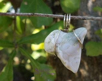 Ocean Jasper Pendant, Wire Wrapped Pendant, Silver Wire Jewelry, Jasper Pendant Necklace, Wire Jewelry