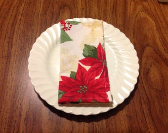 Extra Large Cloth Napkins from Vintage Tablecloth--Christmas Cloth Napkins