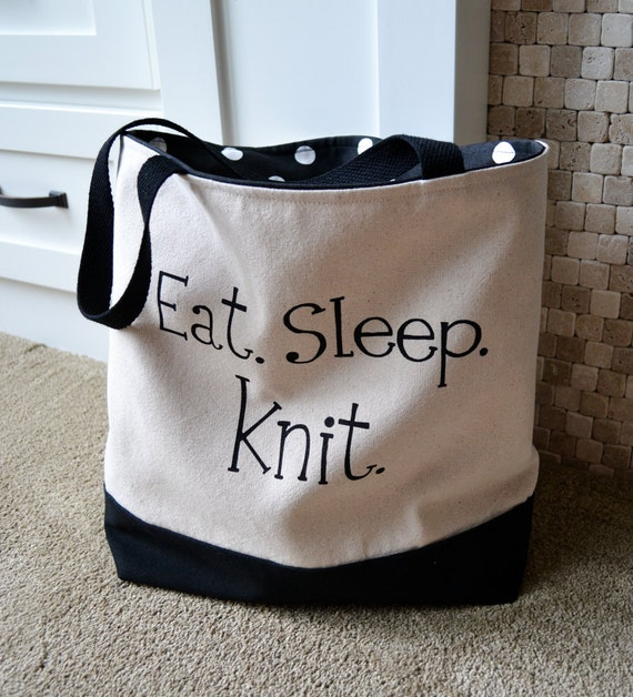 Knitting Canvas Tote, Knitting Project Bag, Knitting Bag