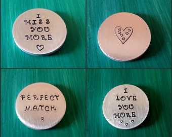Hand Stamped Pocket Token | Pocket Coins | 3 Sizes | 3mm thick | Personal Message | Custom Stamped Coin | Inspirational Message | Memorial