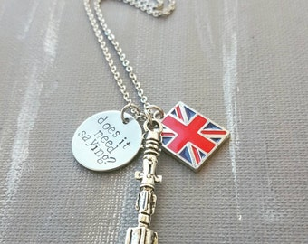 "Doctor Who Hand Stamped Necklace ""Does it need saying?"""