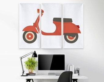 Retro Scooter Canvas Art, Vespa Scooter Art, Office Decor, Triptych Art, Tryptic Art, Large Canvas Print, Boys Bedroom Art, Canvas Wall Art