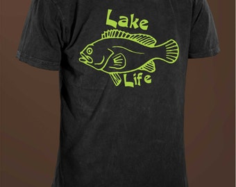 Lake Life Mens 100% Cotton Black T-shirt