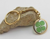 Gold Charm Keychain with a Real Genuine Four Leaf Clover - GK-4J