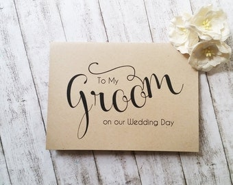 To My Groom on Our Wedding Day Card, Kraft Wedding Card, Wedding Stationery, Card for Groom, Calligraphy Card