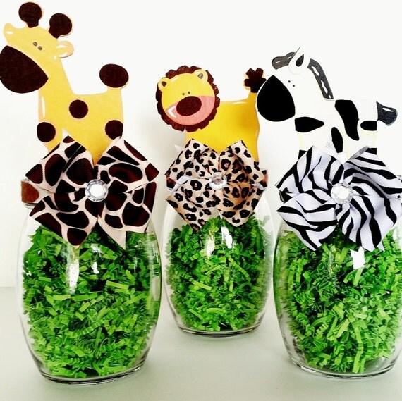Safari centerpieces jungle animal table decorations mason - Deco table jungle ...