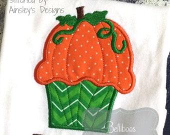 Pumpkin Applique - Cupcake Applique - Fall Applique - Applique Design - Embroidery Design - Thanksgiving Applique - Halloween Applique
