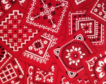 One Half Yard of Fabric Material - Red Bandana Motif