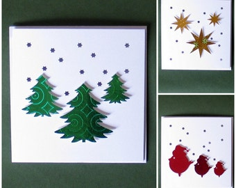 Christmas Cards, Christmas, Christmas Card, Christmas Tree, Robin, Christmas Card Pack, Square, Snowflake, Xmas Cards, Xmas Tree, Xmas, Card