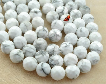 White Howlite faceted round beads in 10mm, 37 pcs,--64 faces