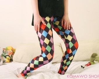 ROMBO COMBO Leggings/ Retro 1980s Colorful Leggings/ Spandex Leggings / Running Jogging Leggings/1980s style/ Dancewear /Fitness Pants dp18