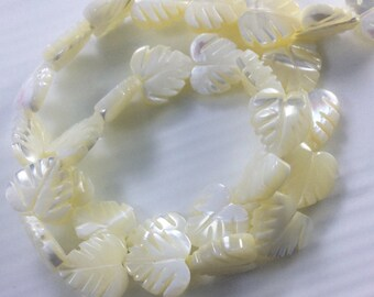 12 mm Mother of Pearl Leaf  Beads, Leaf Beads , Mother of pearl Beads , Mother of Jewelry