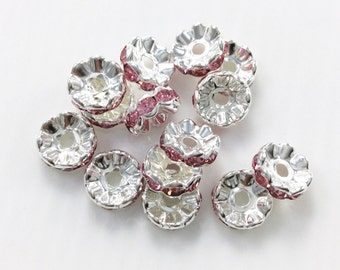 100pcs  8mm 10mm Silver Plated  Metal Rhinstone  Spacer , Crystal Spacer