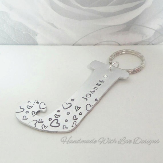 Personalized Initial Keyring, Name Keychain With handstamped designs, crystal elements, gifts for her, gifts for him, personalised name gift