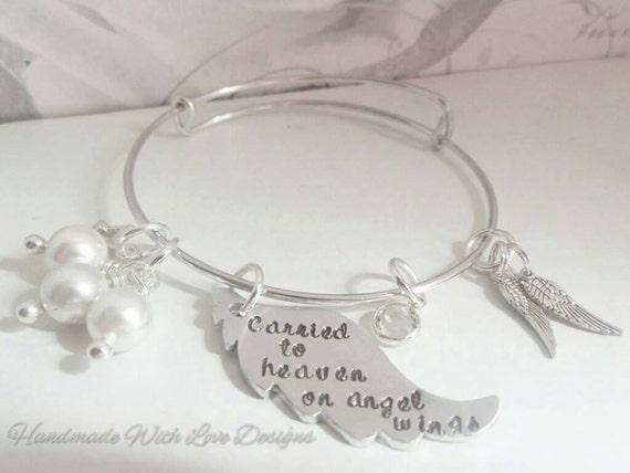 Angel Baby Adjustable bangle bracelet, personalised handstamped baby loss memorial jewellery, Angel wings