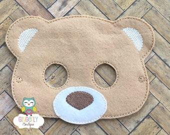 Bear Mask, Kids Dress Up Mask, Bear Costume Mask, Wool Blend Mask, Felt Bear Mask, Jungle Party Favor, Monkey Mask