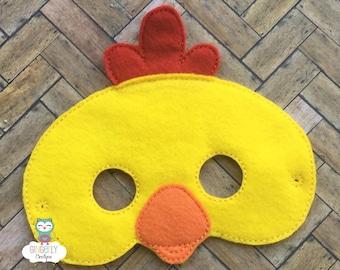 Chicken Mask, Kids Dress Up Mask, Chicken Costume Mask, Wool Blend Mask, Felt Chicken Mask, Jungle Party Favor, Monkey Mask