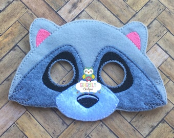 Raccoon Mask, Kids Dress Up Mask, Raccoon Costume Mask, Wool Blend Mask, Felt Raccoon Mask, Jungle Party Favor, Monkey Mask