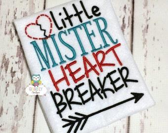 Little Mister Heartbreaker Shirt or Bodysuit, Boy Valentine Shirt, Heart Breaker Shirt, Little Mister, Heart Breaker Valentine Shirt