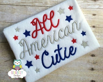 All American Cutie Patriotic/4th of July Shirt or Bodysuit, Independence Day, Fireworks, Girl 4th of July, 4th of July Parade