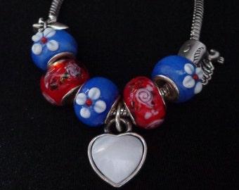 Valentines Bracelet, European Charm Bracelet, European Heart Charm Bracelet, European Blue & Red Lampwork Bead Charm Bracelet