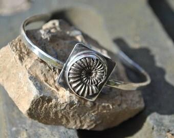 Sterling Silver Pyrite Ammonite Bracelet