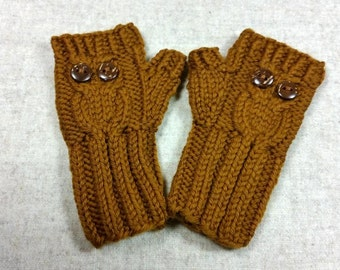 "Organic Fingerless Gloves ""Owl"" for Babies up to 18 Months, 1T cinnamon, Mittens Wool Merino, Wrist Warmers"
