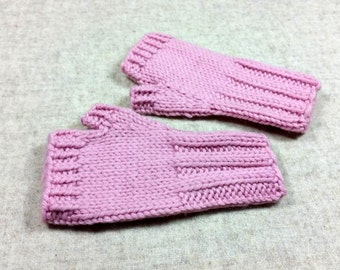 Organic Fingerless Gloves for Babies and Toddlers, light pink, 7 to 18 Months, pure Wool, Handknitted Wrist Warmers, Mittens