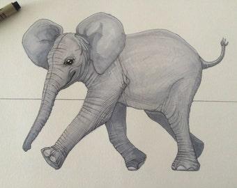 Baby Animal Prints - Baby Elephant Nusery Decor